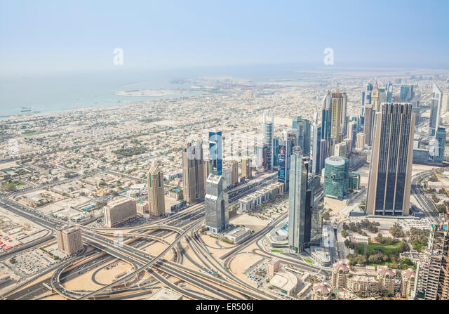 View of Sheikh Zayed Road from Burj Khalifa observation deck, Dubai City, United Arab Emirates, UAE, Middle East - Stock Image