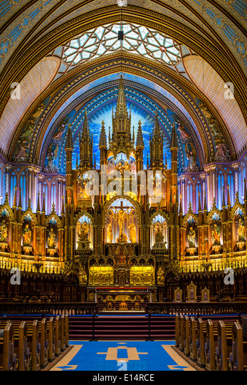 The Notre Dame Basilica interior in Montreal, Quebec, Canada. - Stock Image