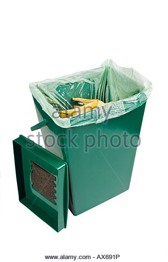Kitchen waste recycling bin. Bin is lined with a corn starch liner bag which is biodegradeable. - Stock Image