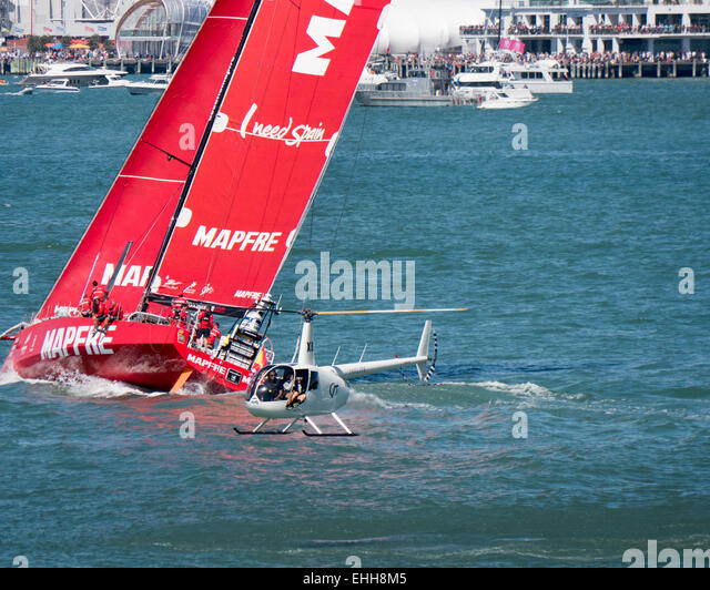 Auckland, New Zealand. 14th Mar, 2015. Mapfre in the Auckland In-port race, Saturday March 14, 2015, part of the - Stock Image