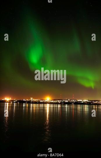 Aurora Borealis or Northern Lights, n Reykjavik, Iceland - Stock Image