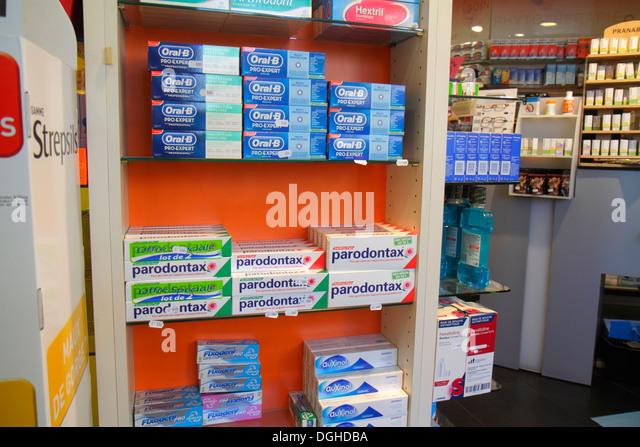 Paris France Europe French 18th arrondissement Avenue de la Porte de Montmartre pharmacy drugstore inside sale product - Stock Image