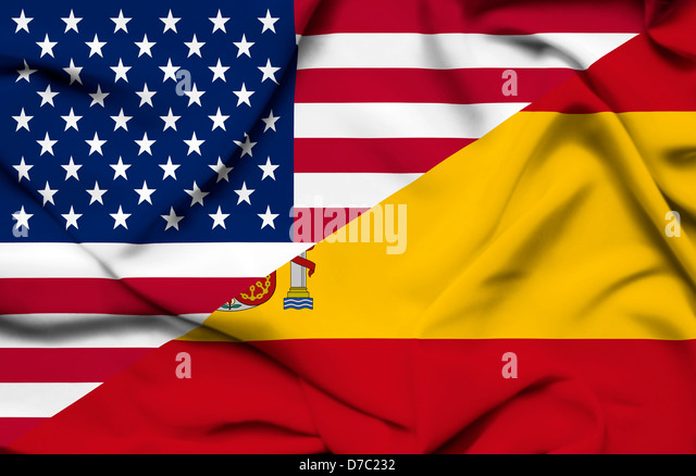 United States of America and Spain waving flag - Stock Image