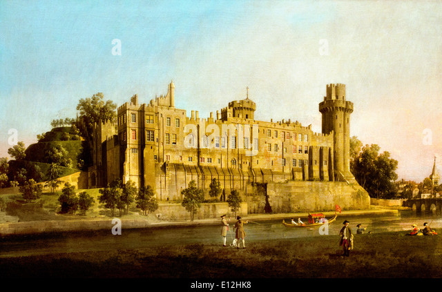 The South Façade of Warwick Castle 1748 Canaletto . Venice 1697-1768 Italy Italian - Stock Image