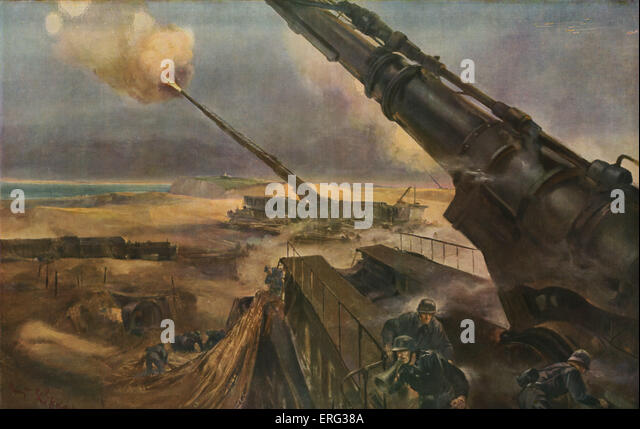 Futuristic German weapons to be used to attack Britain. 'Des batteries a longue portée en position de tir' - Stock Image