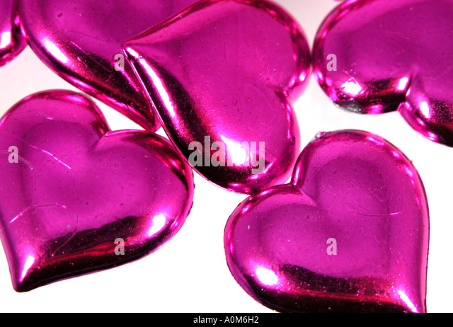 Pink Heart shapes - Stock Image