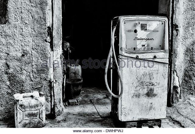 Gasoline Pump, Marrakech, Morocco, North Africa. - Stock Image