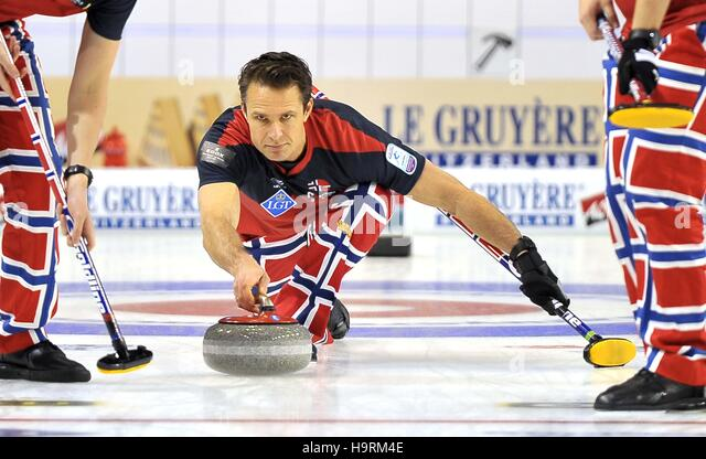Glasgow, Scotland, UK. 26th November, 2016. Thomas Ulsrud (Norway, skip). Mens final. Le Gruyère AOP European - Stock Image