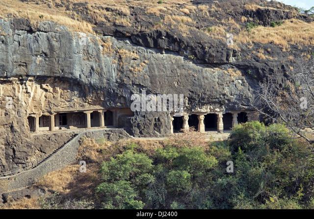 Cave 27 and 28. General view. Hindu caves. Ellora Caves, Maharashtra INDIA - Stock Image