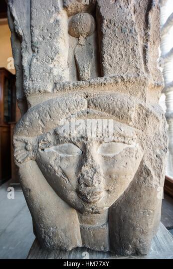 Hathor Goddess of feminine love and motherhood. Egyptian Pharaonic collection. Gayer Anderson Museum. Cairo, Egypt - Stock Image