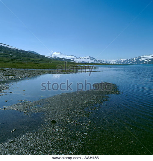 Sulitjelma mountains, Norwegian Swedish border, over Lake Sarjasjaure, Padjelanta National Park, Norrbottens Län, - Stock Image