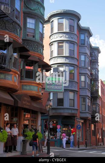 Boston Massachusetts North End The Freedom Trail Gennaro's 5 North Square restaurant street scene - Stock Image