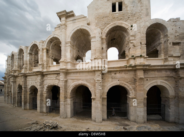 Exterior of Roman Arena at Arles, Provence, France - Stock Image