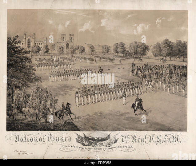 National Guard 7th Reg[imen]t N.Y.S.M. / on stone by C[harles] Gildemeister, 289 Broadway N.Y. ; print by Nagel - Stock Image