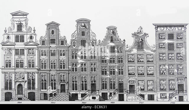 Drawing showing architectural transition of styles of houses from 1640 - 1780 - Stock-Bilder