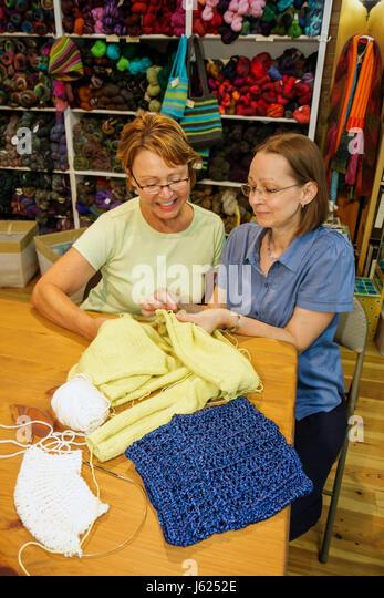 Indiana Valparaiso Sheep's Clothing knitting supplies yarn wool craft hobby business retail display woman women - Stock Image