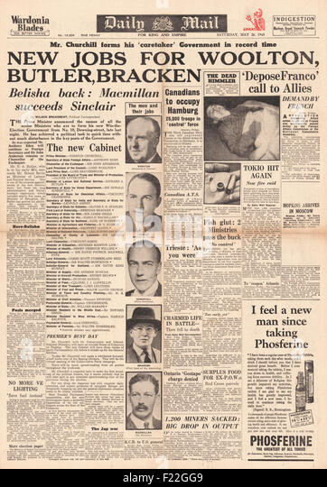 1945 Daily Mail front page reporting  Heinrich Himmler Commits Suicide whilst in British Custody, Churchill Announces - Stock Image