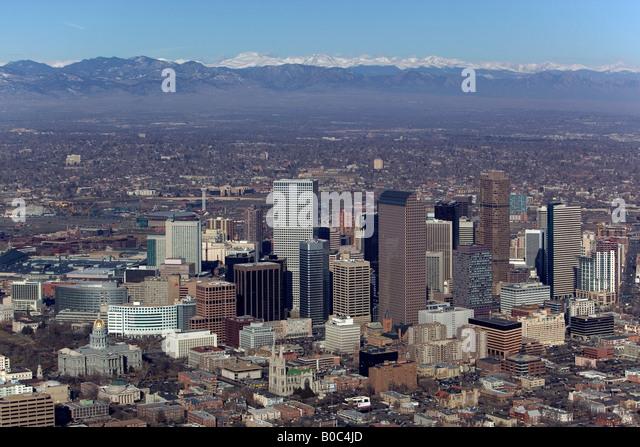 aerial Denver Colorado CO toward the Rocky Mountains - Stock Image