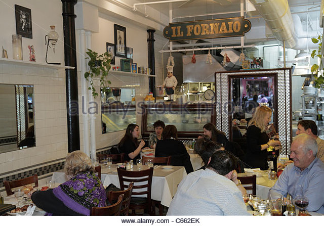 Lower Manhattan New York City NYC NY Little Italy Mulberry Street ethnic neighborhood Il Fornaio Italian restaurant - Stock Image