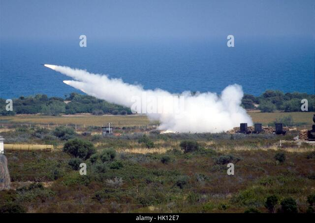 Sardinia island, Italy) military range of Salto di Quirra / Perdasdefogu, launch of artillery rockets  Firos 80 - Stock Image