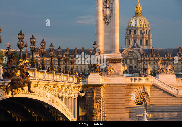 Pont Alexandre III, looking toward Les Invalides over the River Seine, Paris, France - Stock Image