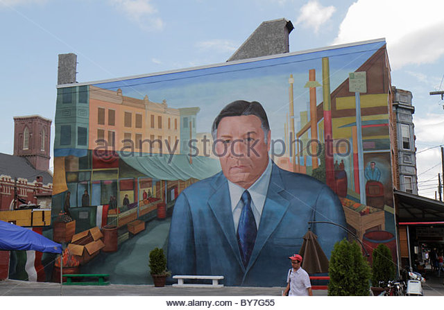 Philadelphia Pennsylvania South Philly South 9th Street Little Italy Italian Market public art mural immigrant ethnic - Stock Image