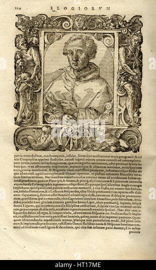 Portrait of Christopher Columbus. (From Elogia virorum bellica virtute illustrium by Paolo Giovio),  Artist: Anonymous - Stock-Bilder