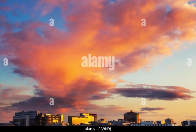 Bright clouds over Frankfurt - Stock Image