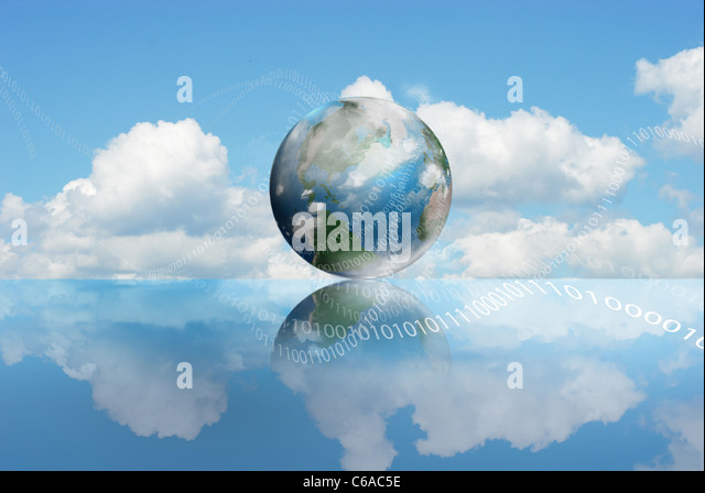 Cloud Computing technology with an cloudy earth and digits - Stock Image