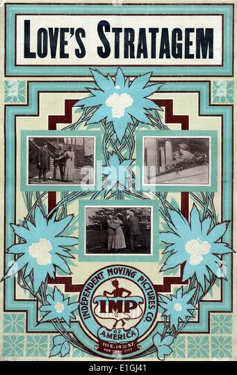 Motion picture poster for Loves Stratagem 1909, showing three scenes from the movie set - Stock Image