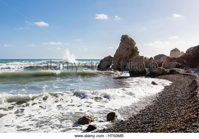 Surf on Shore at Petra tou Romiou, Paphos, Cyprus - Stock Image