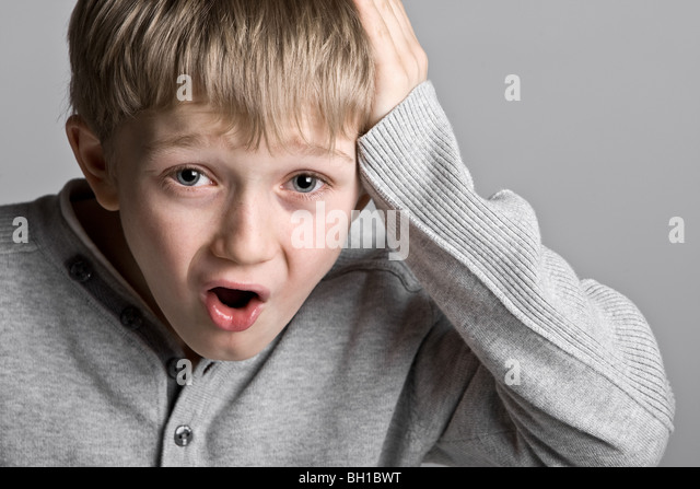 Shot of a Cute Young Child with a Silly Expression - Oh No!!! - Stock Image
