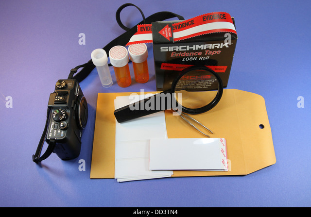 Crime scene evidence collection kit. - Stock Image