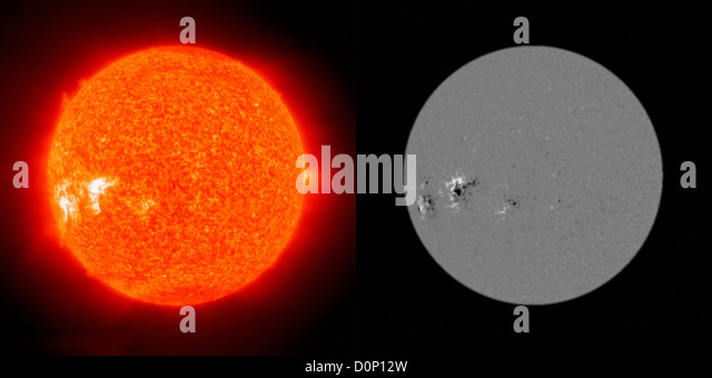 Two images sun Solar Heliospheric Observatory (SOHO) one Extreme ultraviolet Imaging Telescope (EIT) 304 Angstrom - Stock Image
