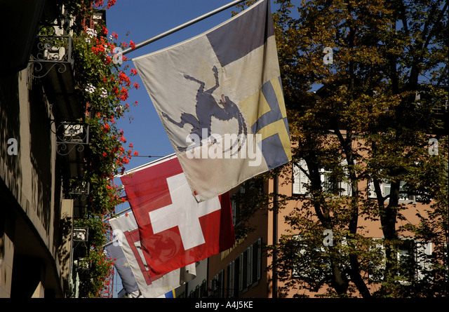 Switzerland flags - Stock Image