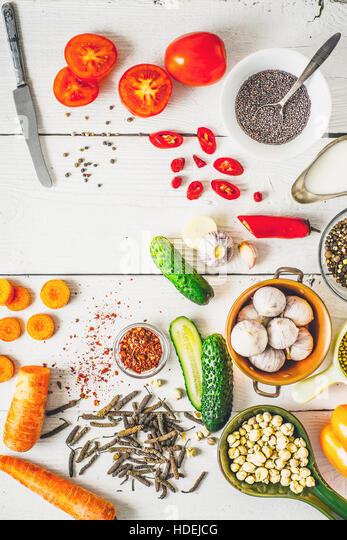 Products  for Middle East , Caucasian and Asian cuisine on the white table vertical - Stock Image