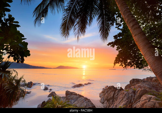 Thailand - Phuket Island, Patong Beach, tropical sunset time scenery - Stock Image