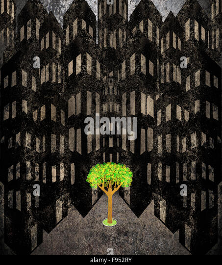 lonely tree in a cityscape digital illustration - Stock-Bilder