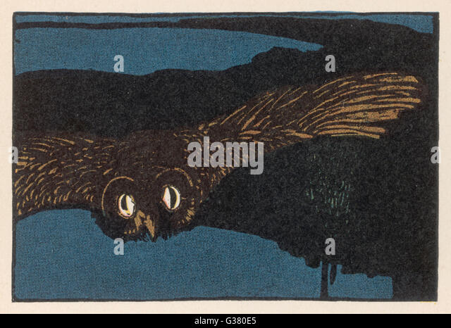 Opening illustration to the  story of the Owl. - Stock Image
