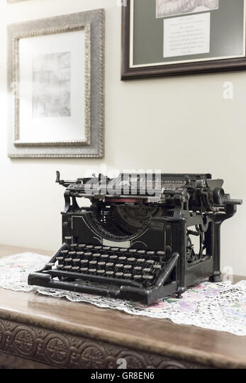Nostalgic Typewriter Of Grandmother Times - Stock Image
