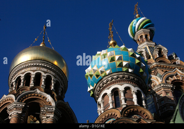 Onion domes, Church of the Saviour on Spilled Blood (Church of Resurrection), St. Petersburg, Russia, Europe - Stock Image