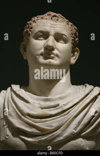 Marble statue of Roman Emperor Titus from Herculaneum in the National Archaeological Museum in Naples, Italy. - Stock Image