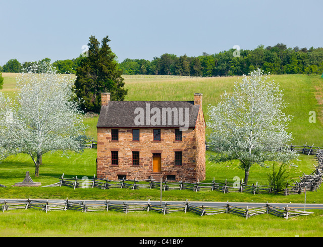 The old stone house in the center of the Manassas Civil War battlefield site near Bull Run, Virgina, USA - Stock Image