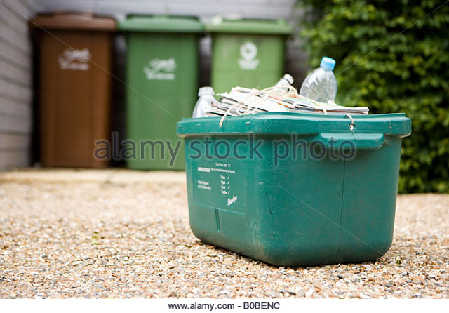 Box of recycling outdoors - Stock Image