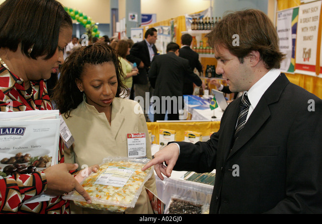 Miami Beach Florida Convention Center Americas Food and Beverage Show Brazil import export shrink wrapped - Stock Image