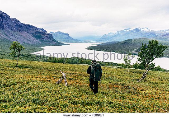 Sweden, Lapland, Saltoluokta, Kungsleden, Male hiker in mountain valley - Stock Image