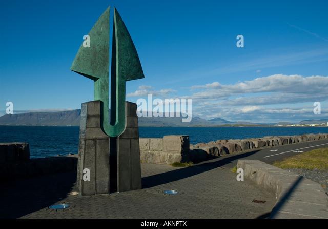 'Partnership', a sculpture by Pétur Bjarnason, Reykjavik, Iceland - Stock Image