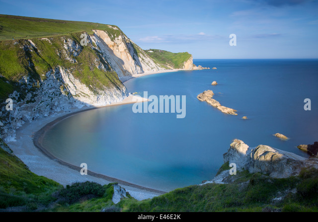 Evening overlooking Man O War Bay along the Jurassic Coast, Dorset, England - Stock Image
