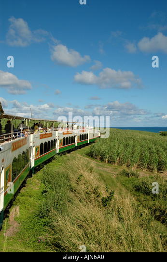 St Kitts Caribbean West Indies Sugar Train Scenic Railyway cane fiields - Stock Image