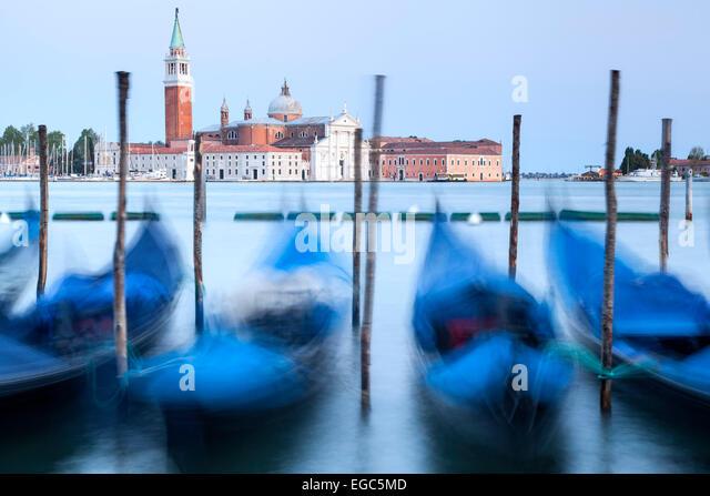 Gondolas and San Giorgio Maggiore Church, Venice, Italy - Stock-Bilder